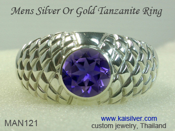custom men's tanzanite ring