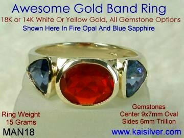 mens topaz gem stone wedding ring gold or 925 silver from Kaisilver