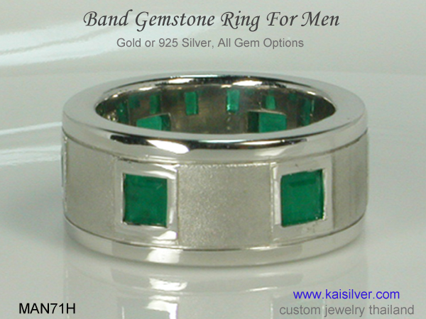 emerald wedding band for men